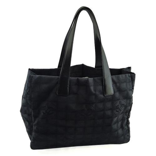 CHANELBELLLINE黑色雙C刺繡帆布肩背托特包【九成新展示品-已經過專業臭氧紫外線清潔】/