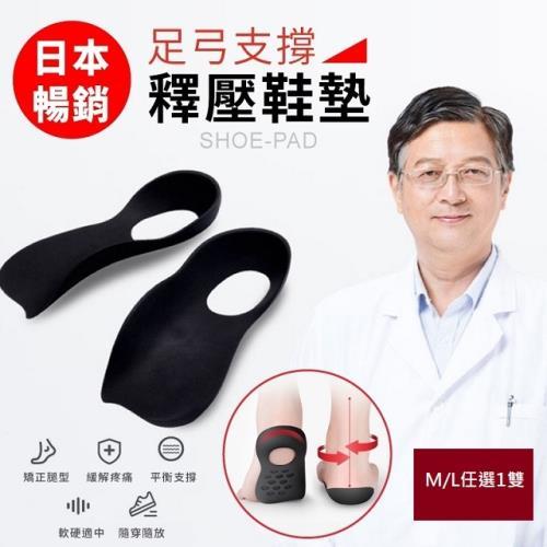 小魚嚴選日本暢銷足弓支撐釋壓鞋墊/