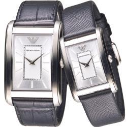ARMANI 亞曼尼唯美邂逅純淨對錶-銀白/黑色錶帶(AR1869+AR1871) 保固二年