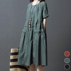 【ACheter】韓佳人涵舍創意棉麻寬鬆洋裝#103995現貨+預購GXj(3色)
