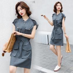 SZ-帥氣個性抽繩收腰大口袋連衣裙S-XL(共二色)