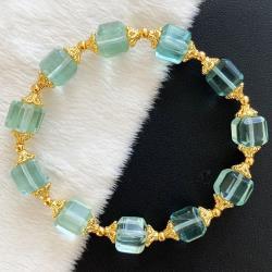 【my stere 我的時尚秘境】天然綠螢石方塊造型水晶手鍊