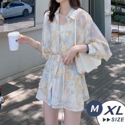 【LANNI 藍尼】現+預 法式休閒寬鬆襯衫短褲套裝(襯衫/套裝/短褲)