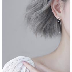 925純銀閃鑽月亮水滴耳環