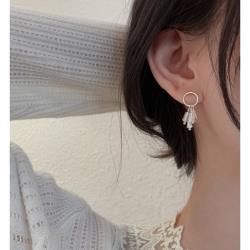 925銀圓圈水滴流蘇耳環