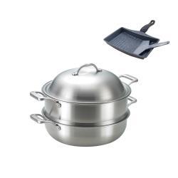 SanYeh三葉頂級316不鏽鋼健康概念養生30cm萬用蒸籠組加贈雞蛋捲煎鍋