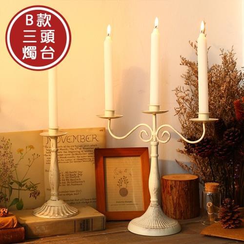 北歐時光歐式復古鐵藝燭台 B款三頭燭台