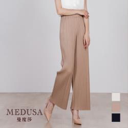 【MEDUSA 曼度莎】壓紋長腿鬆緊寬褲(M-XL)現貨