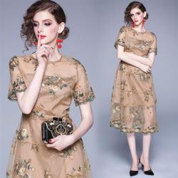M2M-刺繡花卉半透網紗短袖洋裝小禮服M-2XL