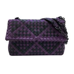 【BOTTEGA VENETA】展示品 Olimpia拚色編織掀蓋斜背包(紫/黑)