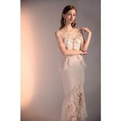 GIFT-名媛氣質時尚蕾絲鑽珍珠鏈吊帶裙荷葉優雅長禮服