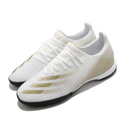 adidas 足球鞋 X Ghosted 3 TF 襪套式 男鞋 愛迪達 人工草皮 碎釘大底 地毯草 白 金 EG8199 [ACS 跨運動]