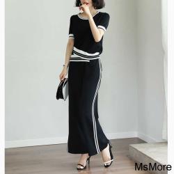 【MsMore】韓國全智賢風尚針織小啦叭寬褲2件式套裝#109034現貨+預購(黑色)