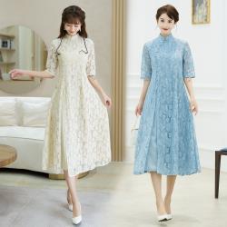 REKO-端莊秀麗小立領蕾絲改良旗袍M-2XL(共三色)