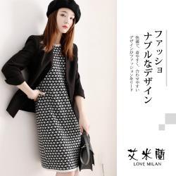 【艾米蘭】韓版甜美款圓領千鳥格針織造型洋裝(S-L)