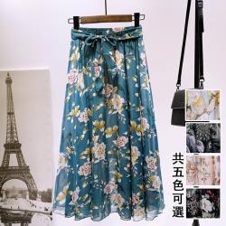 型-【韓國K.W.】巴黎美學雪紡絲印花裙