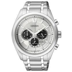 【CITIZEN 星辰】光動能三眼男錶 鈦金屬錶帶 白色錶面 防水50米(CA4011-55A)