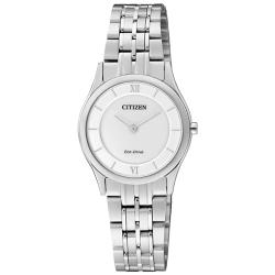 【CITIZEN 星辰】光動能指針女錶 不鏽鋼錶帶 白色錶面 生活防水(EG3220-58A)