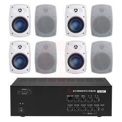 商業空間 鐘王牌 KB-200PA 擴大機+Poise H-4T 多用途喇叭(白) X8支