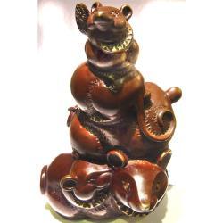 開運陶源  羅廣維限量原作  鼠銅雕 [五子登科步步高升]  禮品