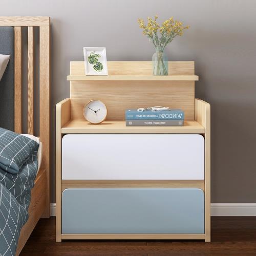慢慢家居-北歐田園橡木大容量雙抽屜收納床頭櫃/