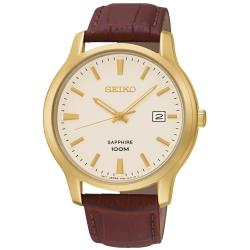 【SEIKO 精工】石英男錶 皮革錶帶 金色錶盤 藍寶石水晶鏡面(SGEH44P1)