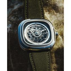 SEVENFRIDAY T2 特殊漸層自動上鍊機械錶-綠/45mm