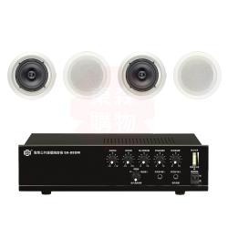 商業空間 SHOW SA-880M 擴大機+AV MUSICAL HSR-108-8T 崁入式喇叭 X4支