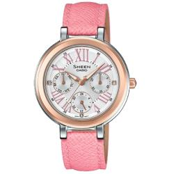 【CASIO 卡西歐】SHEEN 女錶 皮革錶帶 白面 施華洛世奇水晶 防水(SHE-3034BGL-7A)