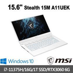 msi微星 Stealth 15M A11UEK-087TW 15.6吋電競筆電(i7-11375H/16G/1T SSD/RTX3060-6G)