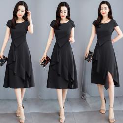 SZ-氣質圓領斜邊荷葉裙襬收腰連衣裙M-2XL(共四色)