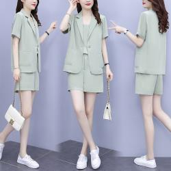 KVOLL-清爽透氣時尚西裝三件套褲套裝M-4XL(共四色)