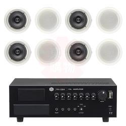 商業空間 SHOW TPA-120M 擴大機+AV MUSICAL HSR-108-8T 崁入式喇叭 X8支