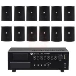 商業空間 SHOW TPA-240M 擴大機+AV MUSICAL QS-61POR 壁掛喇叭(黑) X12支