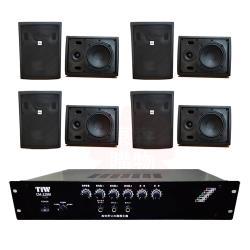 商業空間 TIW CM-228M/200W 擴大機+AV MUSICAL QS-81POR 壁掛喇叭(黑) X8支