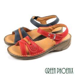 GREEN PHOENIX 素色水鑽沾黏式全真皮小坡跟厚底涼鞋U60-25205