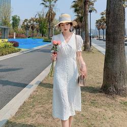 Dorri-清新白色刺繡花紋翻領開衩洋裝-S-XL