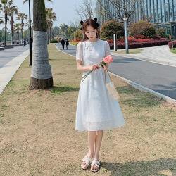 Dorri-純真白雪紡復古雙襟木耳立領洋裝S-2XL
