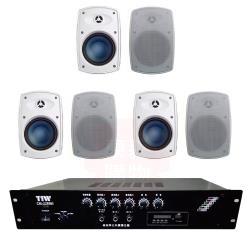 商業空間 TIW CM-228MB/120W 擴大機+Poise H-4T 多用途喇叭(白) X6支