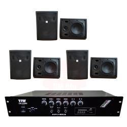 商業空間 TIW CM-228MB/120W 擴大機+AV MUSICAL QS-81POR 壁掛喇叭(黑) X6支
