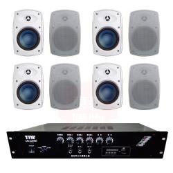商業空間 TIW CM-228MB/200W 擴大機+Poise H-5T 多用途喇叭(白) X8支