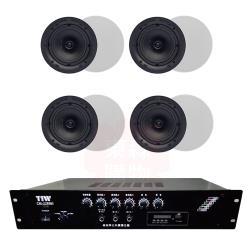 商業空間 TIW CM-228MB/200W 擴大機+Q Acoustics Qi65CB 崁入式喇叭X8支