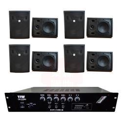商業空間 TIW CM-228MB/200W 擴大機+AV MUSICAL QS-81POR 壁掛喇叭(黑) X8支