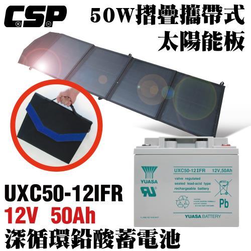 【CSP】太陽能板+深循環電池12V50W