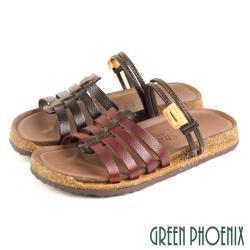 GREEN PHOENIX 台灣製日系職人感手工純色全真皮平底兩穿涼拖鞋U9-20349