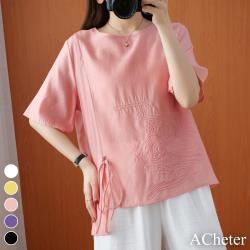 【ACheter】優雅復古刺繡蝴蝶結棉麻感短袖上衣#108723現貨+預購(5色)