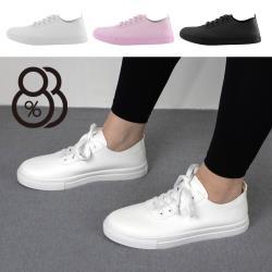 【88%】2.5cm休閒鞋 經典百搭舒適透氣 皮革平底綁帶圓頭包鞋 小白鞋