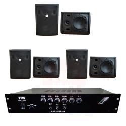 商業空間 TIW CM-228M/120W 擴大機+AV MUSICAL QS-81POR 壁掛喇叭(黑) X6支