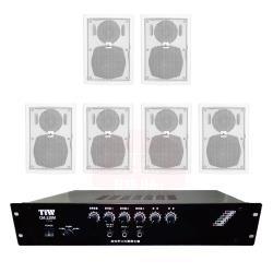 商業空間 TIW CM-228M/120W 擴大機+AV MUSICAL QS-41POR 壁掛喇叭(白) X6支