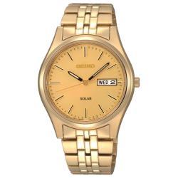 【SEIKO 精工】時尚太陽能石英男錶 不鏽鋼錶帶 金色 生活防水 礦物玻璃鏡面(SNE036P1)